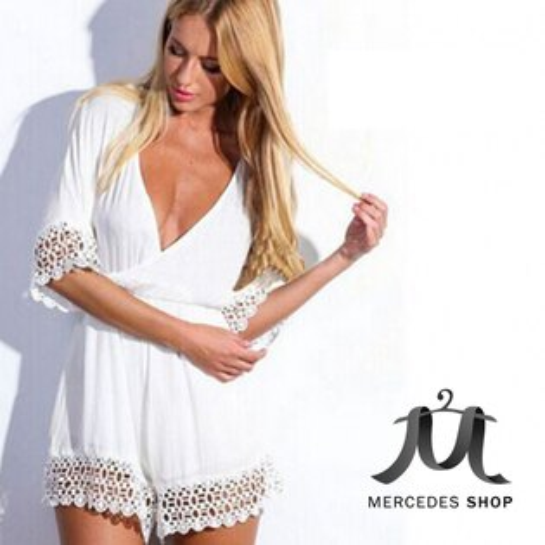 梅西蒂絲Mercedes Shop:《早秋新品5折》歐美新款白色雪紡V領蕾絲邊性感連身短褲-S-XL-梅西蒂絲(現貨+預購)