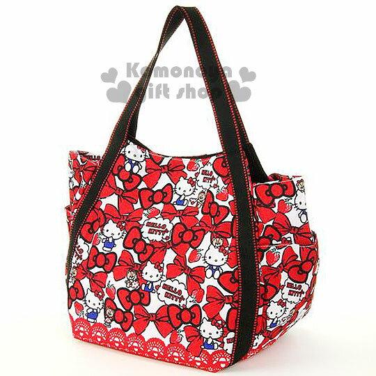 〔小禮堂〕Hello Kitty x DEARISIMO 帆布托特包《L.白.小熊.草莓.蝴蝶結滿版》完整收納大容量