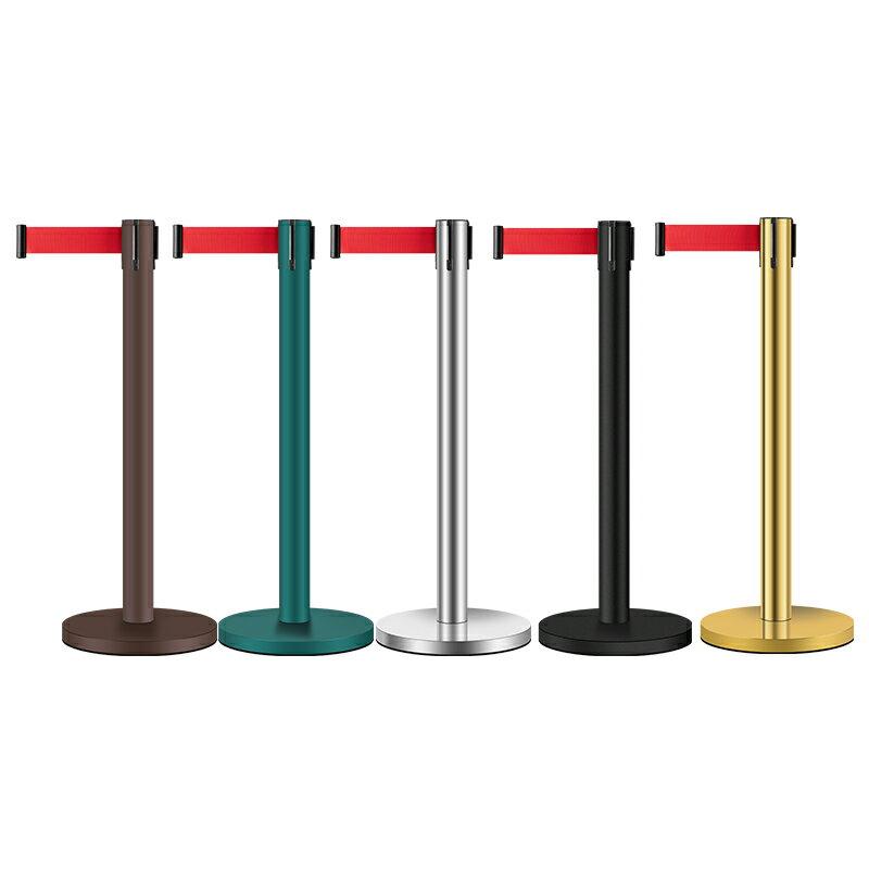 護欄桿 一米線欄桿隔離帶伸縮帶圍欄不銹鋼銀行警戒隔離線排隊護欄警示柱【MJ7792】