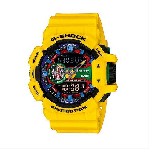 CASIO G-SHOCK GA-400-9A亮麗多彩雙顯流行腕錶/51mm