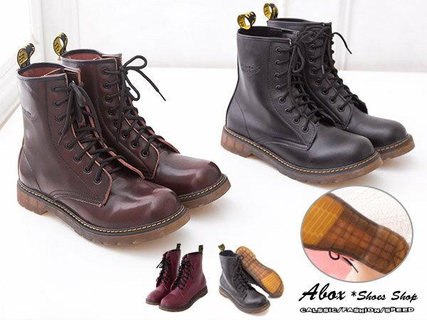 【KV886-1G】日系8孔高質感全牛皮超耐磨透明牛津底 馬汀靴 軍靴 馬丁鞋 情侶鞋 三色
