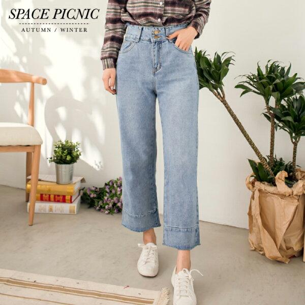 Space Picnic:單寧寬褲SpacePicnic|現貨.雙釦褲頭抽鬚素面單寧寬褲【C17123075】
