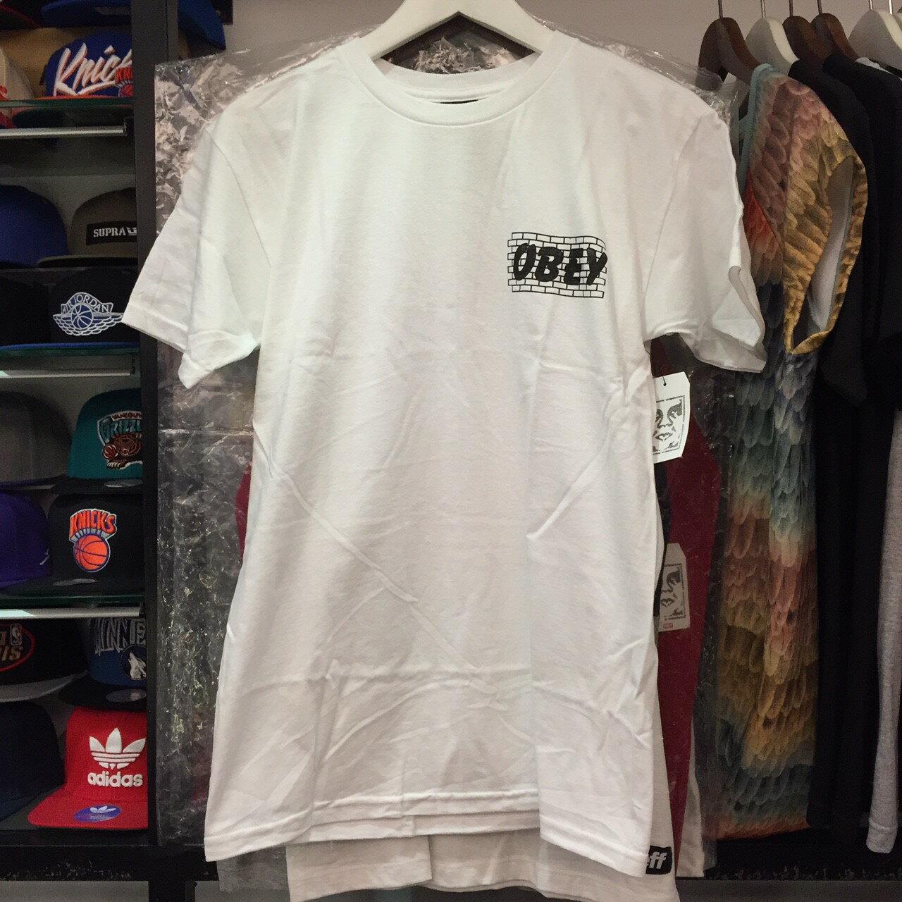 BEETLE PLUS 西門町經銷 全新 美國品牌 OBEY BRICK WALL TEE 磚牆 全白 黑字 白字 LOGO 短 TEE 163081179WHT OB-420 0