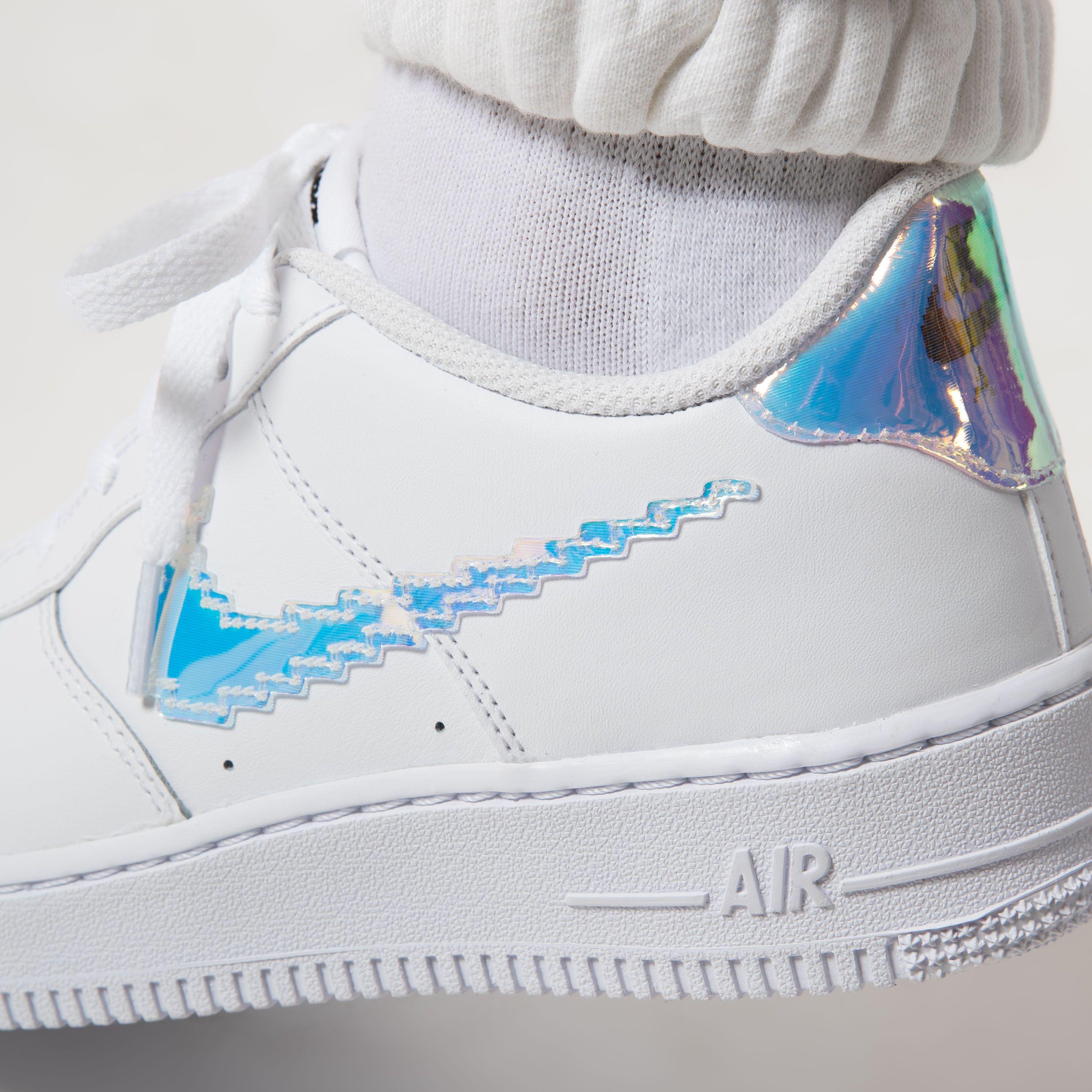 IMPACT Nike Air Force 1 LV8 全白 雷射鉤 炫彩 數碼 鐳射 仙杜瑞拉 CW1577-100