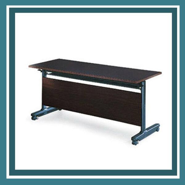 『商款熱銷款』【辦公家具】PUT-1560E黑胡桃木折合式會議桌書桌鐵桌摺疊臨時活動