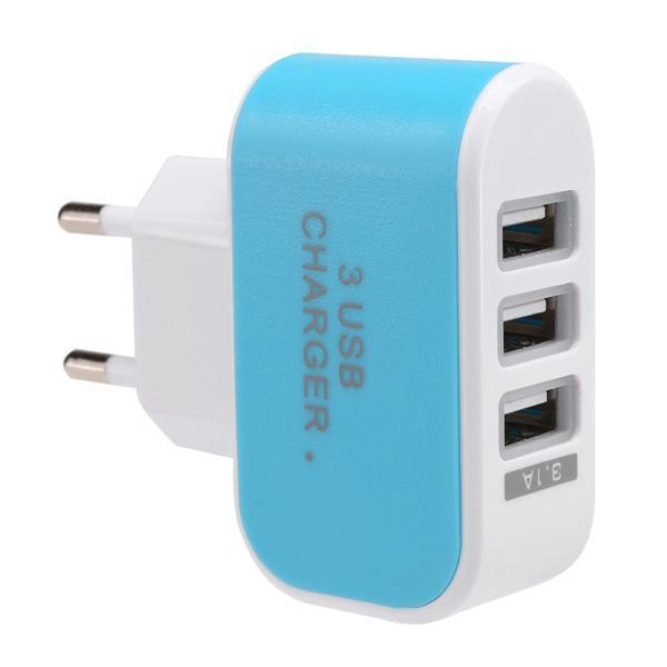 3-Port USB Wall Home Travel AC Charger Adapter for Phone 2