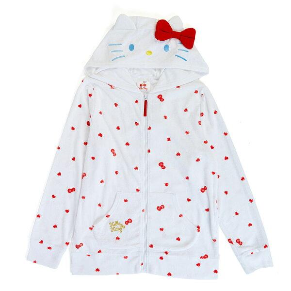 【真愛日本】18042500041造型連帽外套-KT白ACK三麗鷗凱蒂貓kitty連帽外套休閒外套
