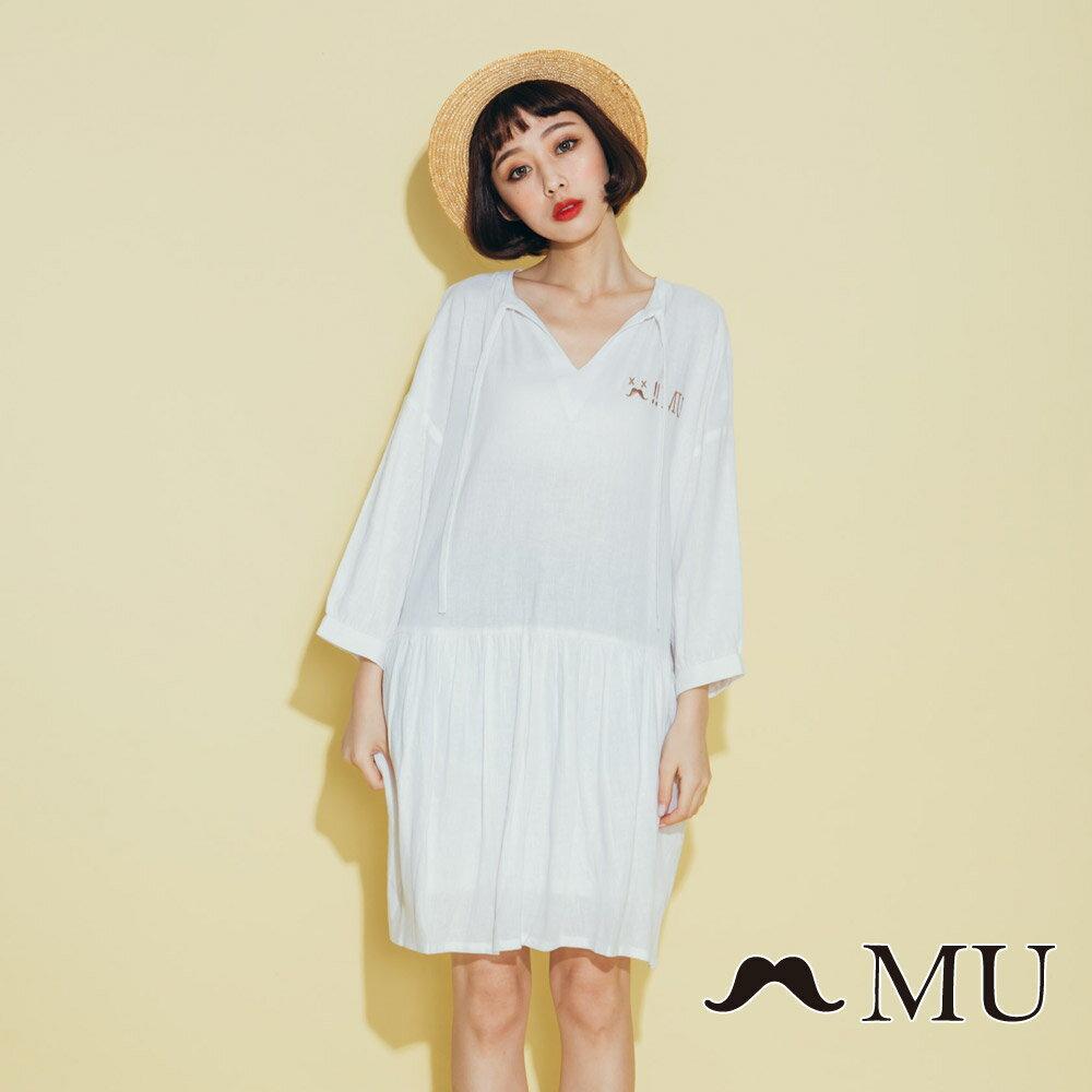 【MU】領口綁繩娃娃寬鬆休閒洋裝(2色)8313263 1