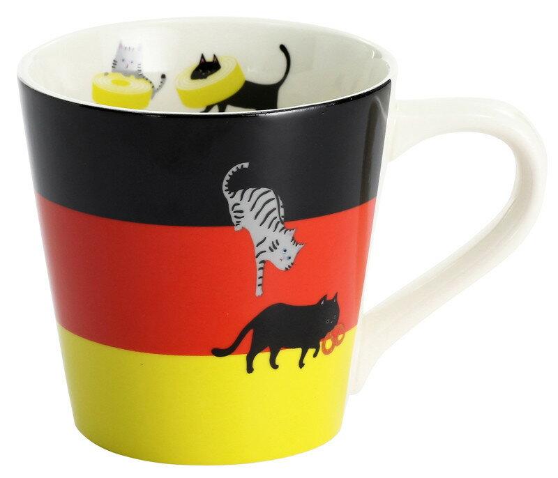 貓咪圖案 德國 國旗馬克杯