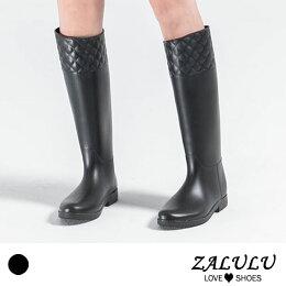 ZALULU 鞋館 JK013 預購 防水菱格紋壓邊時尚磨砂 高筒雨靴