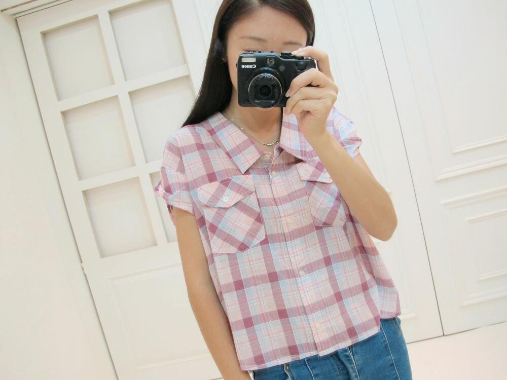 純棉 配色側鈕釦格紋襯衫