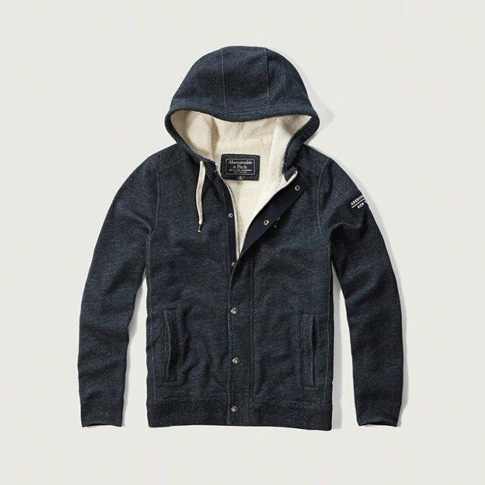 Q美國百分百【全新真品】Abercrombie & Fitch 外套 AF 連帽 夾克 麋鹿 刷厚毛 藏藍XL、XXL號 H225