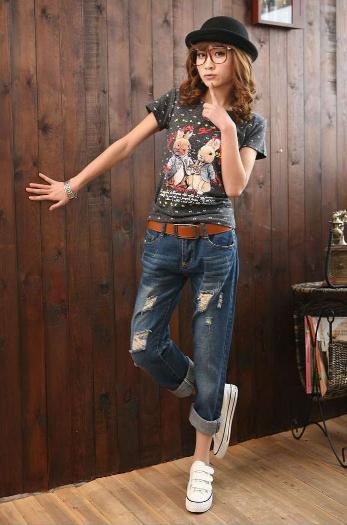 【預購款】寬鬆九分刷破顯瘦男友褲 哈倫牛仔褲 寬鬆個性款【HL601M26UE】 Lanny Dress 4