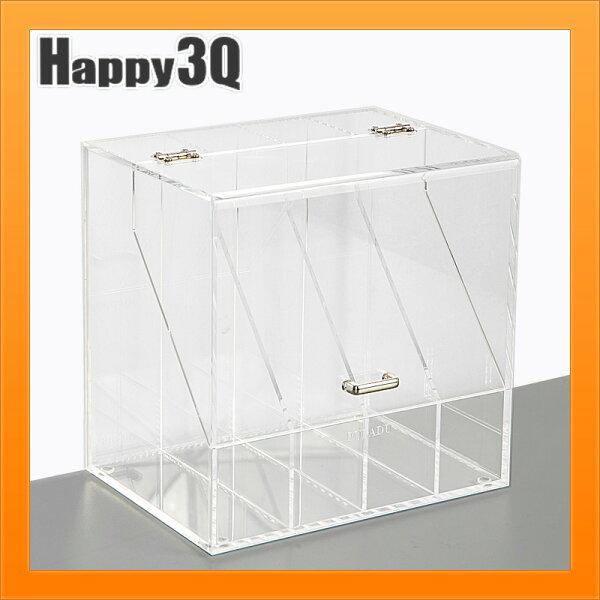 壓克力收納保養品收納盒化妝品收納面膜收納防灰塵翻蓋式收納-黑白透【AAA4175】