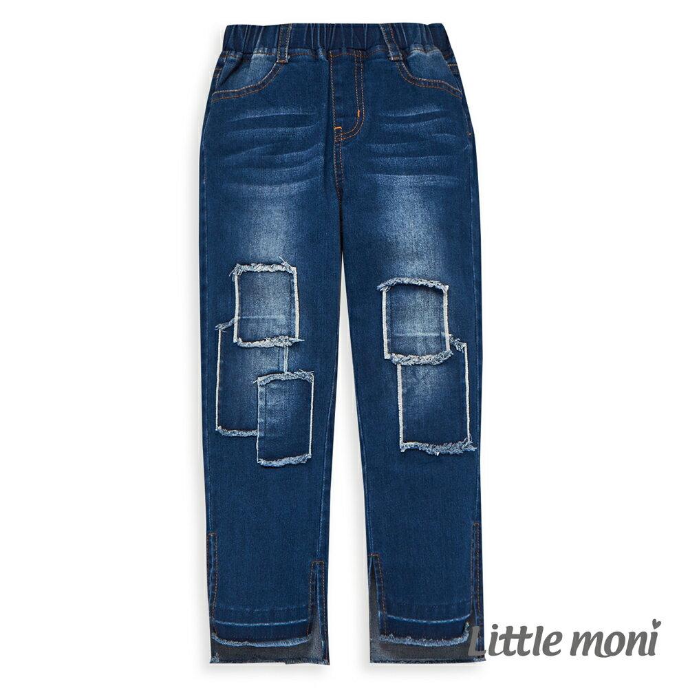 Little moni 個性貼布牛仔長褲-牛仔藍(好窩生活節) 1