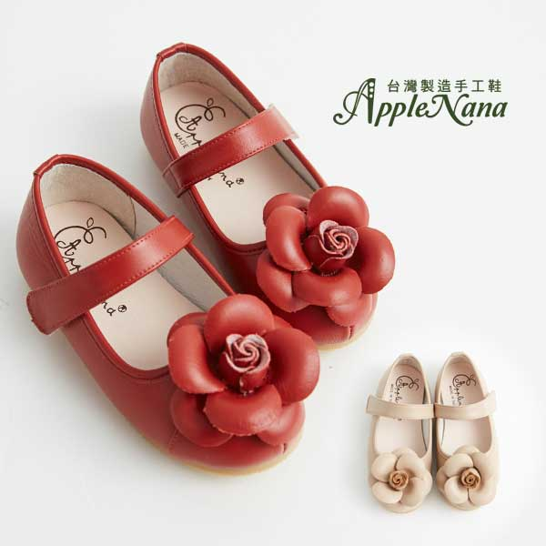 AppleNana。MIT手工童鞋。盛開手工玫瑰全真皮娃娃鞋【QBC70361080】蘋果奈奈 1