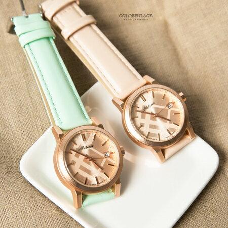 手錶 霧面玫瑰金 紋路 皮革腕錶 日期窗顯示 女孩清 柒彩年代~NE1761~單支