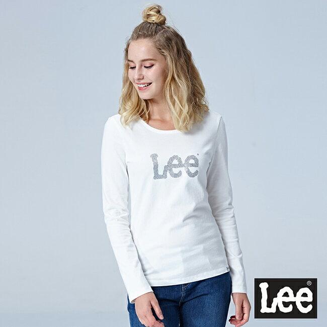 Lee Lee繡花LOGO圓領長袖T恤 白色