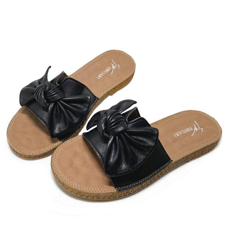 【滿額領券↘折$120】女款柔軟蝶結拖鞋 [802] 黑【巷子屋】