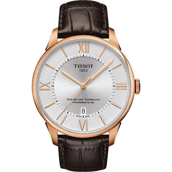 TISSOT 天梭 杜魯爾系列機械動力80手錶-銀x玫瑰金框/42mm T0994073603800