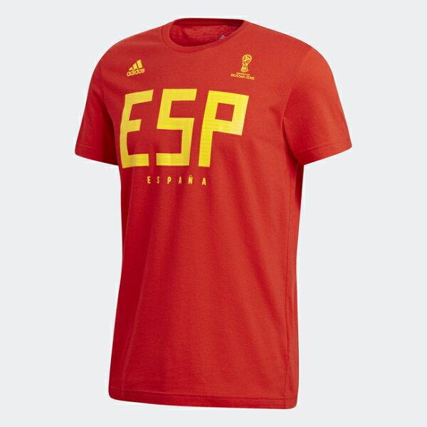 ADIDAS男裝短袖休閒舒適西班牙世界盃世足賽足球賽紅黃【運動世界】CW1984