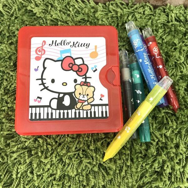【真愛日本】14060100008六色胖旋轉蠟筆盒裝-房子粉三麗鷗凱蒂貓kitty旋轉蠟筆上色工具重點筆文具日用品