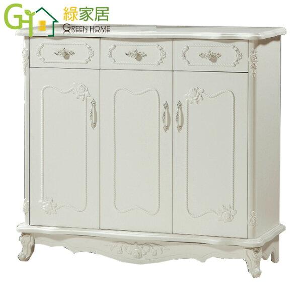 【綠家居】梅迪森法式白4尺三門鞋櫃玄關櫃