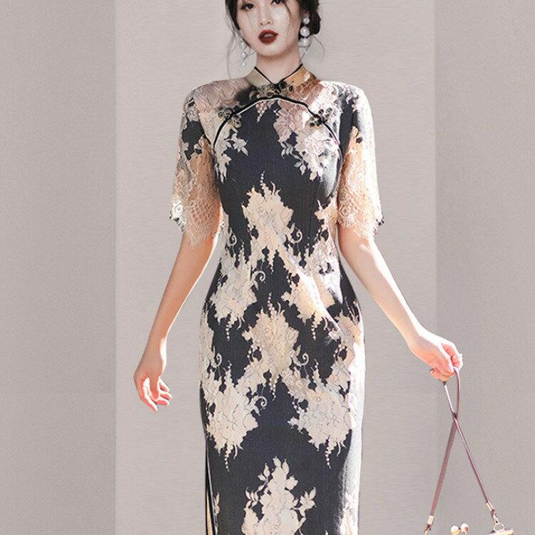 跨境女裝2021夏季新款改良旗袍修身氣質蕾絲復古名媛風連衣裙