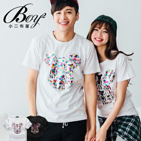 ☆BOY-2☆【JJ744】情侶彩色燙金熊短袖上衣 0