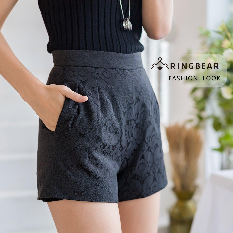 加大尺碼--氣質優雅時尚精緻雙層蕾絲高腰百搭黑色A字短褲(黑XL-5L)-R218眼圈熊中大尺碼 1