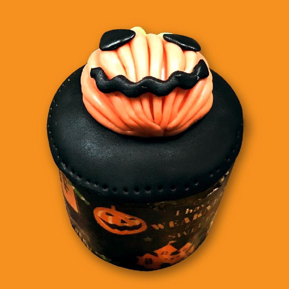 【上城糕餅小舖】邪惡南瓜-萬聖節杯子蛋糕,翻糖杯子蛋糕,造型,可愛