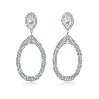 純銀耳環鍍白金鑲鑽耳飾~ 耀眼大方七夕情人節生日 女飾品73cr416~ ~~米蘭 ~