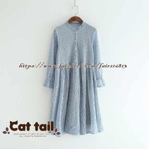 《貓尾巴》LZ-02946韓版蕾絲鏤空長袖連身裙(森林系日系棉麻文青清新)
