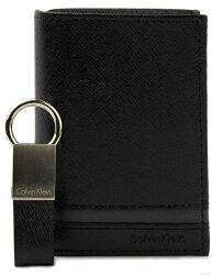 【現貨免等】CALVIN KLEIN CK 真皮豎款橫線短夾附鑰匙圈 皮夾 錢包 79487 【CBCK0102】
