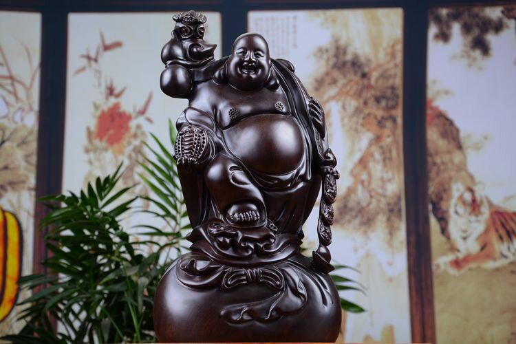 黑檀木雕招財如意送寶彌勒佛