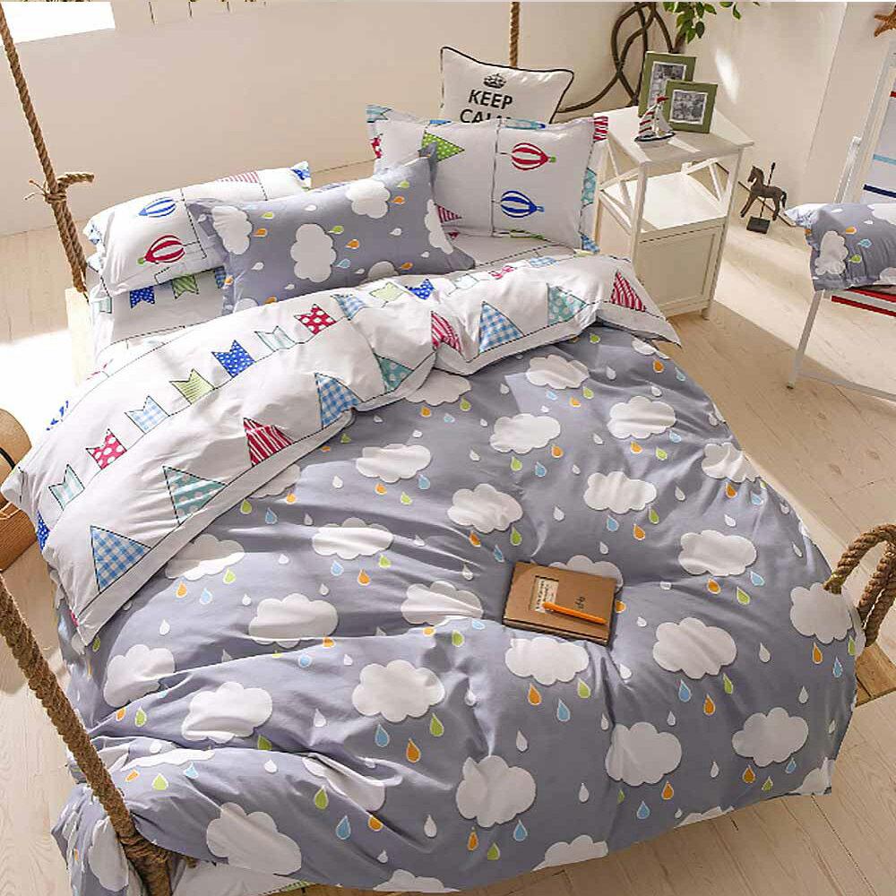 柔絲絨 涼被床包組 加大四件式-烏雲 / 哇哇購