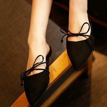 拖鞋 隨興蝴蝶結綁帶尖頭懶人鞋【S1579】☆雙兒網☆ 5