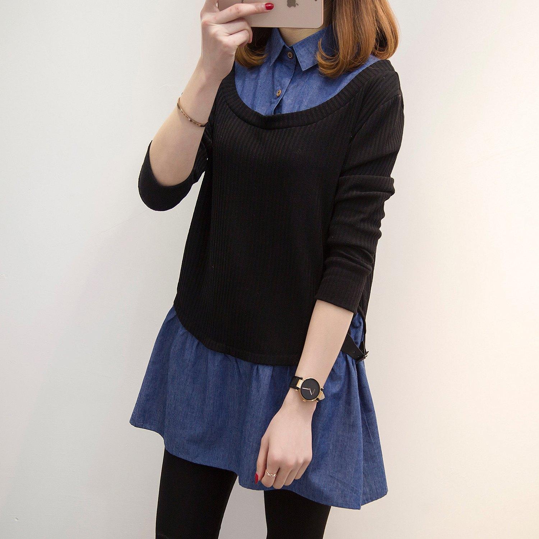 假兩件襯衫--率性坑條針織寬鬆修身皮革長袖襯衫領假兩件上衣(藍L-5L)-I117眼圈熊中大尺碼 1