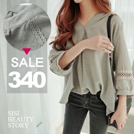 SISI【T6039】舒適小清新V領鏤空蕾絲拼接寬鬆七分袖棉麻上衣