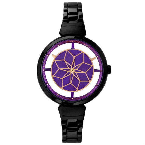 大高雄鐘錶城:RelaxTime綻放系列環動花朵時尚鏤空黑X紫腕錶(RT-63-8)36mm
