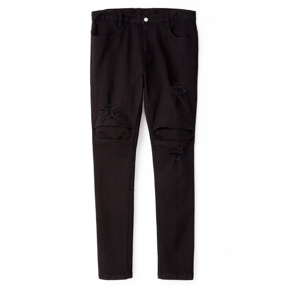STAGE KNEE PLEATED PANTS 黑色 單色 3