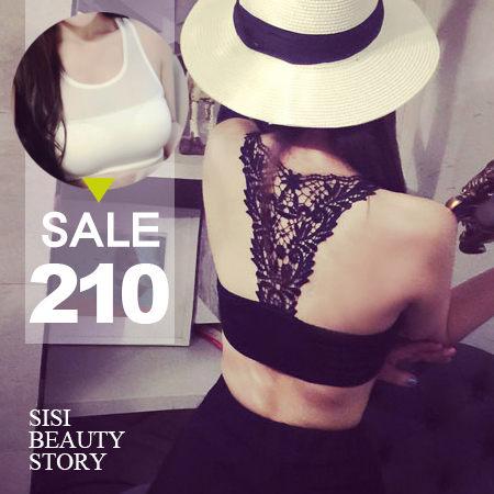 SISI【U5012】完美曲線 蕾絲鏤空雕花網紗拼接透視短版背心半截小可愛上衣內衣BRA T