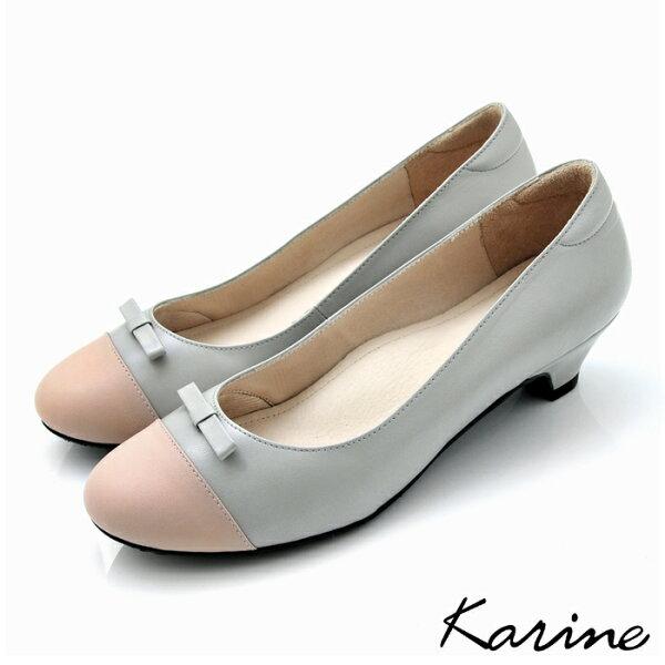karine(MIT台灣製)全真皮拼色蝴蝶結低跟鞋-粉灰色
