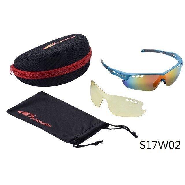 Proenergy S17W02 寶麗來抗UV偏光彩片運動太陽眼鏡 水藍『加贈夜間使用增亮黃鏡片』,附硬殼收納盒及眼鏡袋