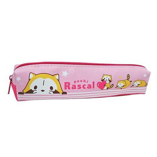 粉紅款【日本進口正版】 小浣熊 拉斯卡爾 皮質 筆袋 鉛筆盒 小筆袋 防潑水 puchi Rascal - 832318