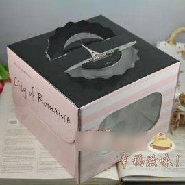 【蛋糕盒-手提-8寸-粉紅鐵塔-5個/組】生日蛋糕盒 糕點蛋撻巧克力曲奇餅乾包裝盒(26*26*16,內托20厚0.1cm),5個/組-8001002