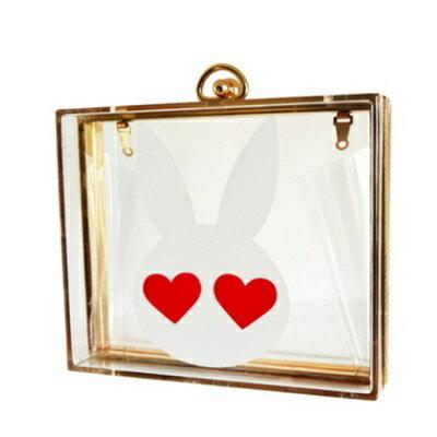 <br/><br/>  ☆晚宴包透明手拿包-透明可愛兔耳朵鏈條女包包73ft15【獨家進口】【米蘭精品】<br/><br/>