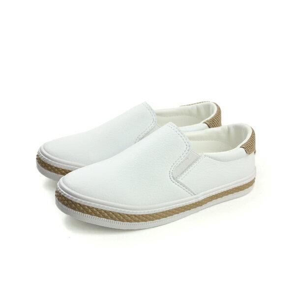 HUMAN PEACE:FEYAO懶人鞋休閒鞋皮質白大童B1503no100