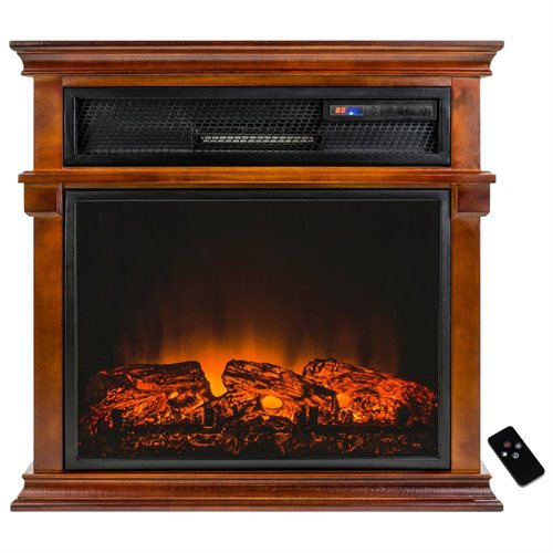 "AKDY 29"" Wood Style Freestanding Tempered Glass Adjustable Fireplace Heater Stove w/ Remote Control 0"