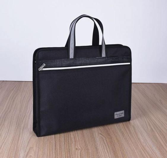 公文包男手提a4文件袋簡約辦公帆布大容量灰黑色商務袋側寬會議袋